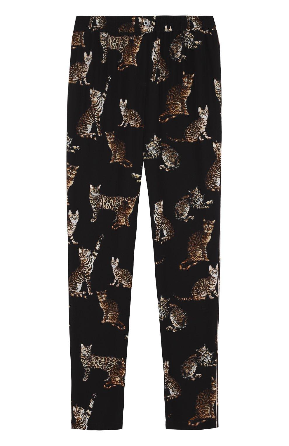 Шелковые брюки в пижамном стиле с принтом в виде кошек | Фото №1