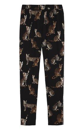 Шелковые брюки в пижамном стиле с принтом в виде кошек Dolce & Gabbana черные | Фото №1