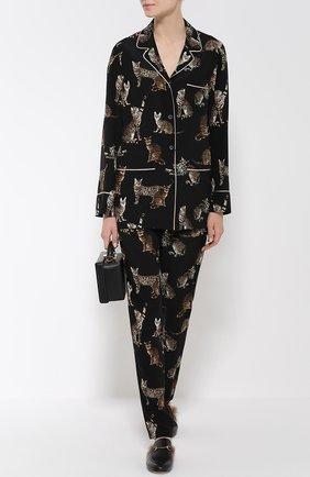 Шелковые брюки в пижамном стиле с принтом в виде кошек Dolce & Gabbana черные | Фото №2