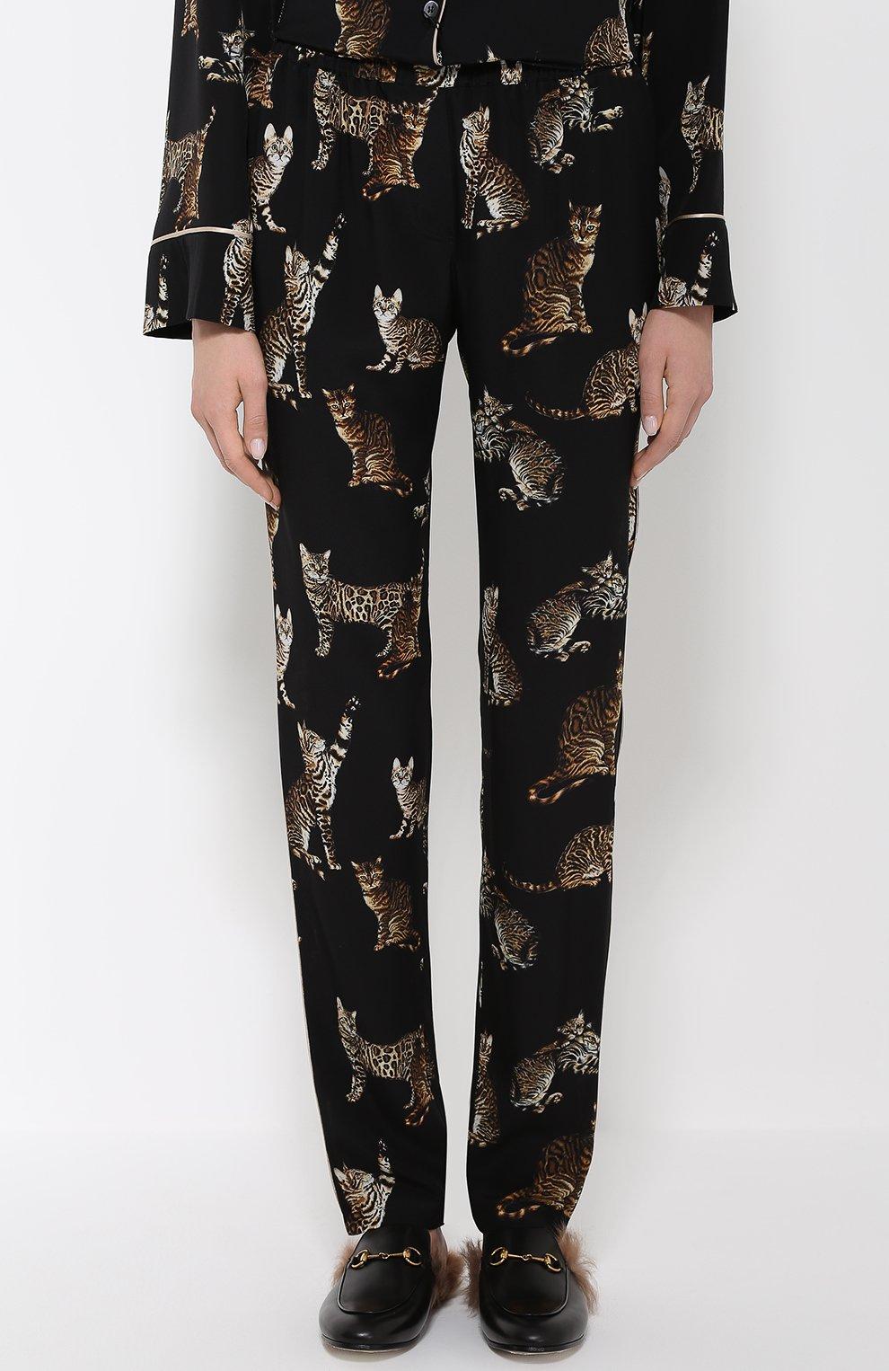 Шелковые брюки в пижамном стиле с принтом в виде кошек Dolce & Gabbana черные | Фото №3