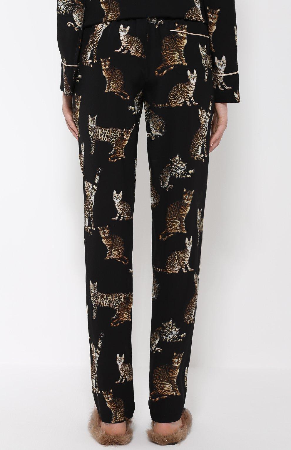 Шелковые брюки в пижамном стиле с принтом в виде кошек Dolce & Gabbana черные | Фото №4