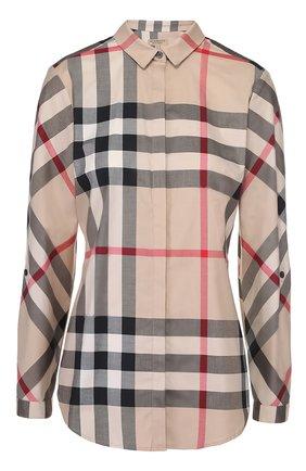 Приталенная хлопковая блуза в клетку   Фото №1