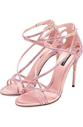 Босоножки со стразами на шпильке Dolce & Gabbana розовые | Фото №1