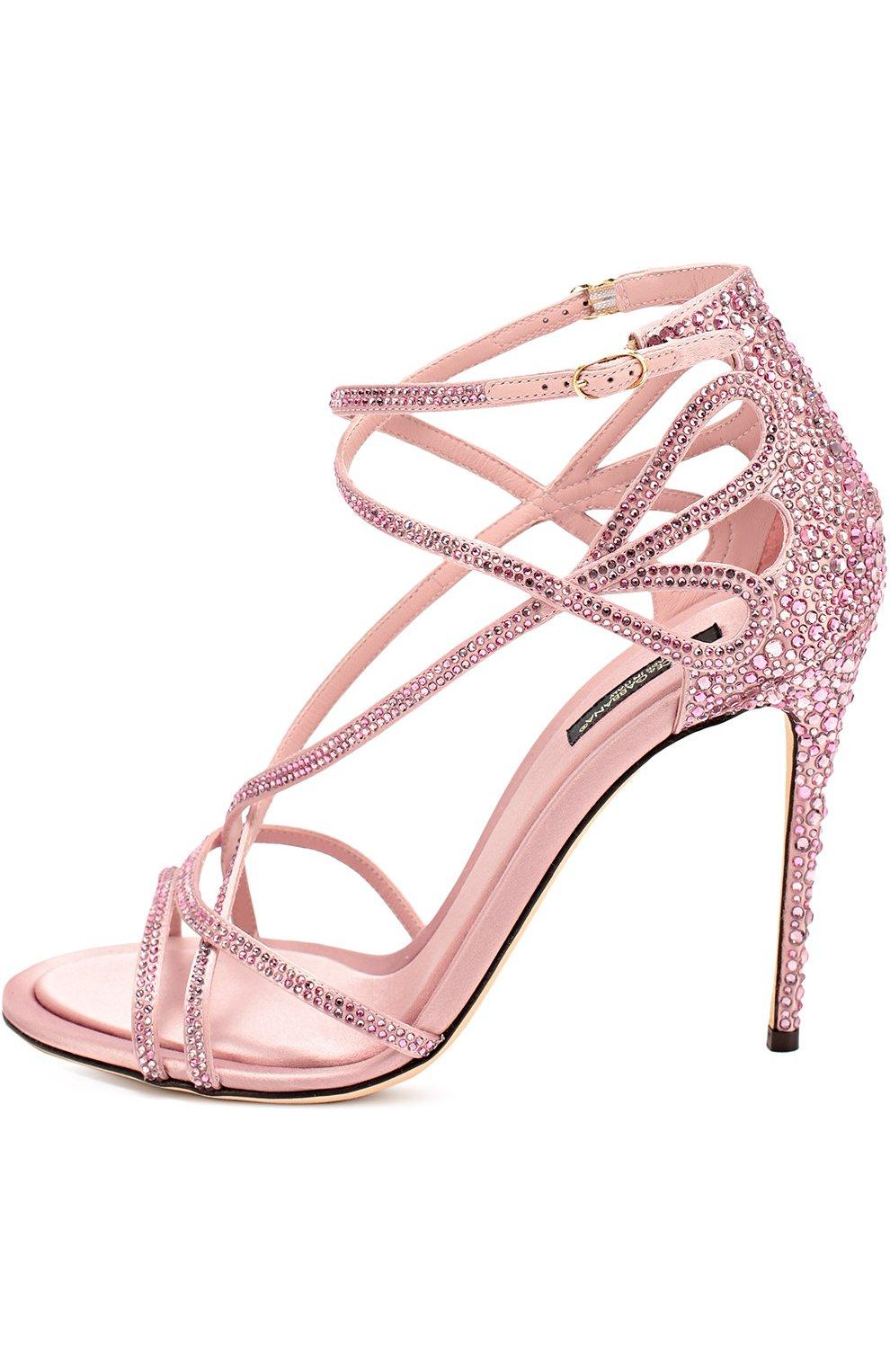 Босоножки со стразами на шпильке Dolce & Gabbana розовые | Фото №3