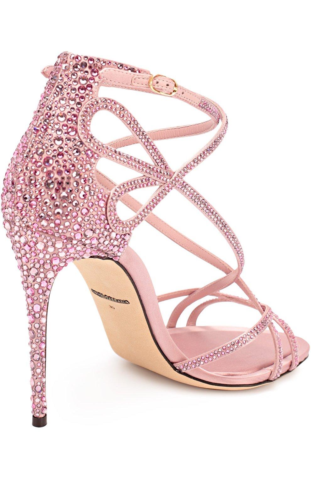 Босоножки со стразами на шпильке Dolce & Gabbana розовые | Фото №4