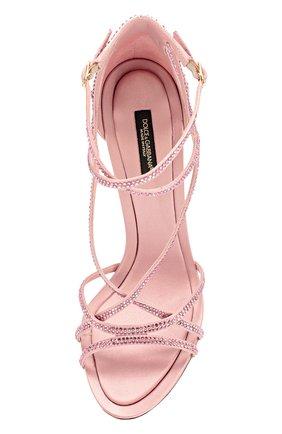 Босоножки со стразами на шпильке Dolce & Gabbana розовые | Фото №5