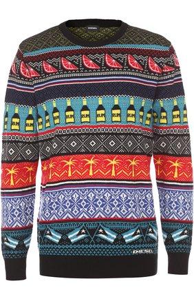 Шерстяной свитер с узором Diesel синий   Фото №1
