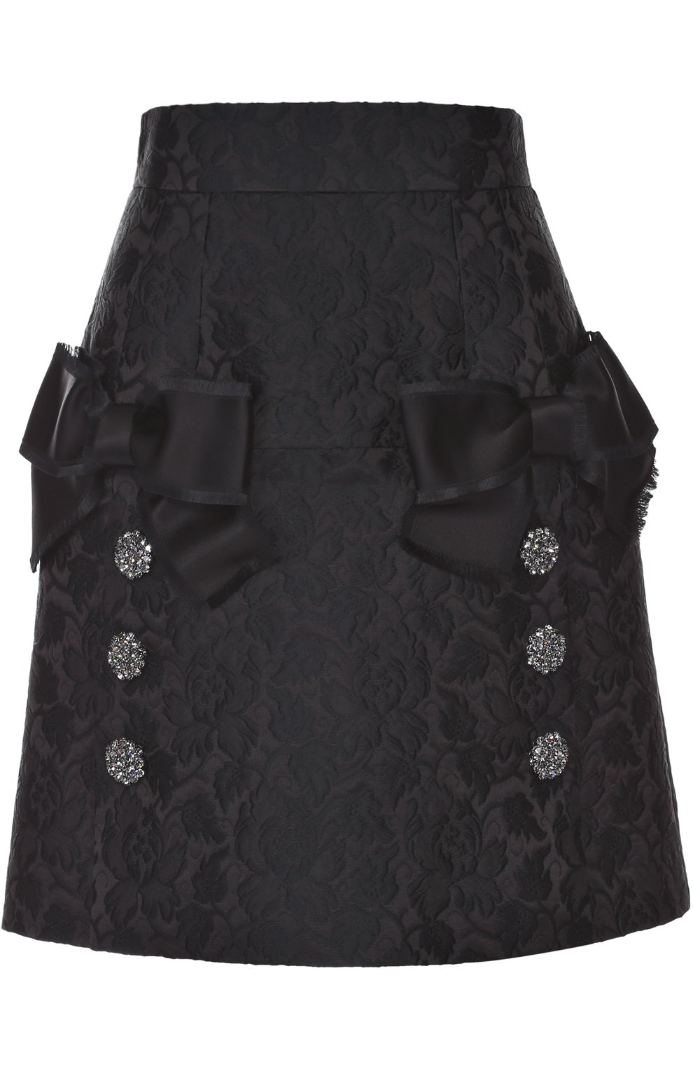 Мини-юбка с фактурной отделкой и бантами | Фото №1