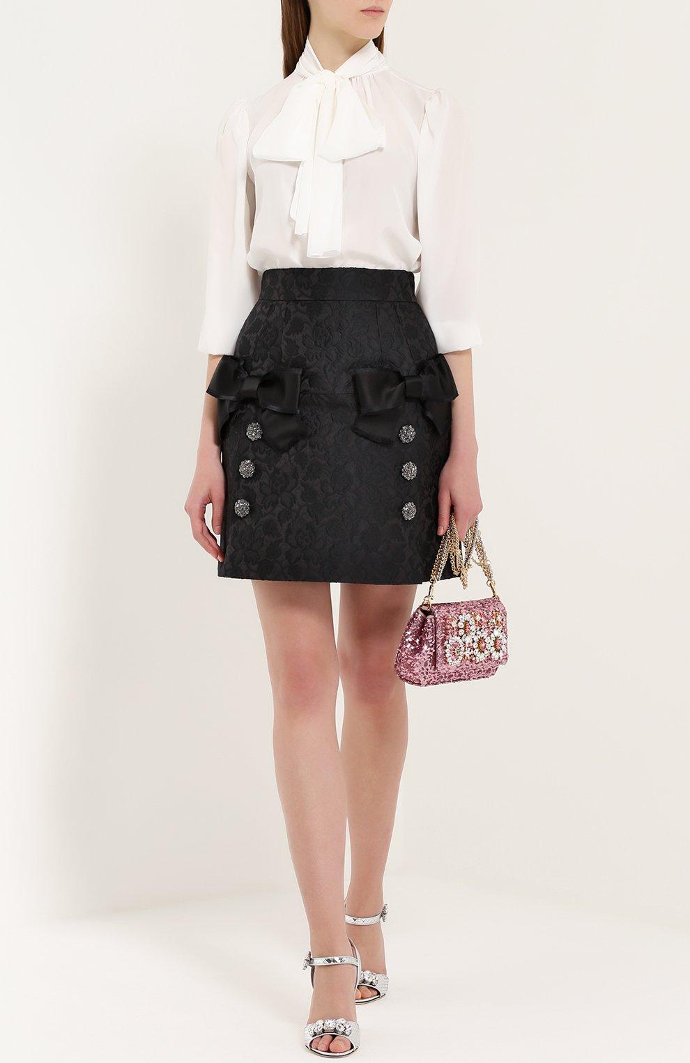 Мини-юбка с фактурной отделкой и бантами Dolce & Gabbana черная | Фото №2