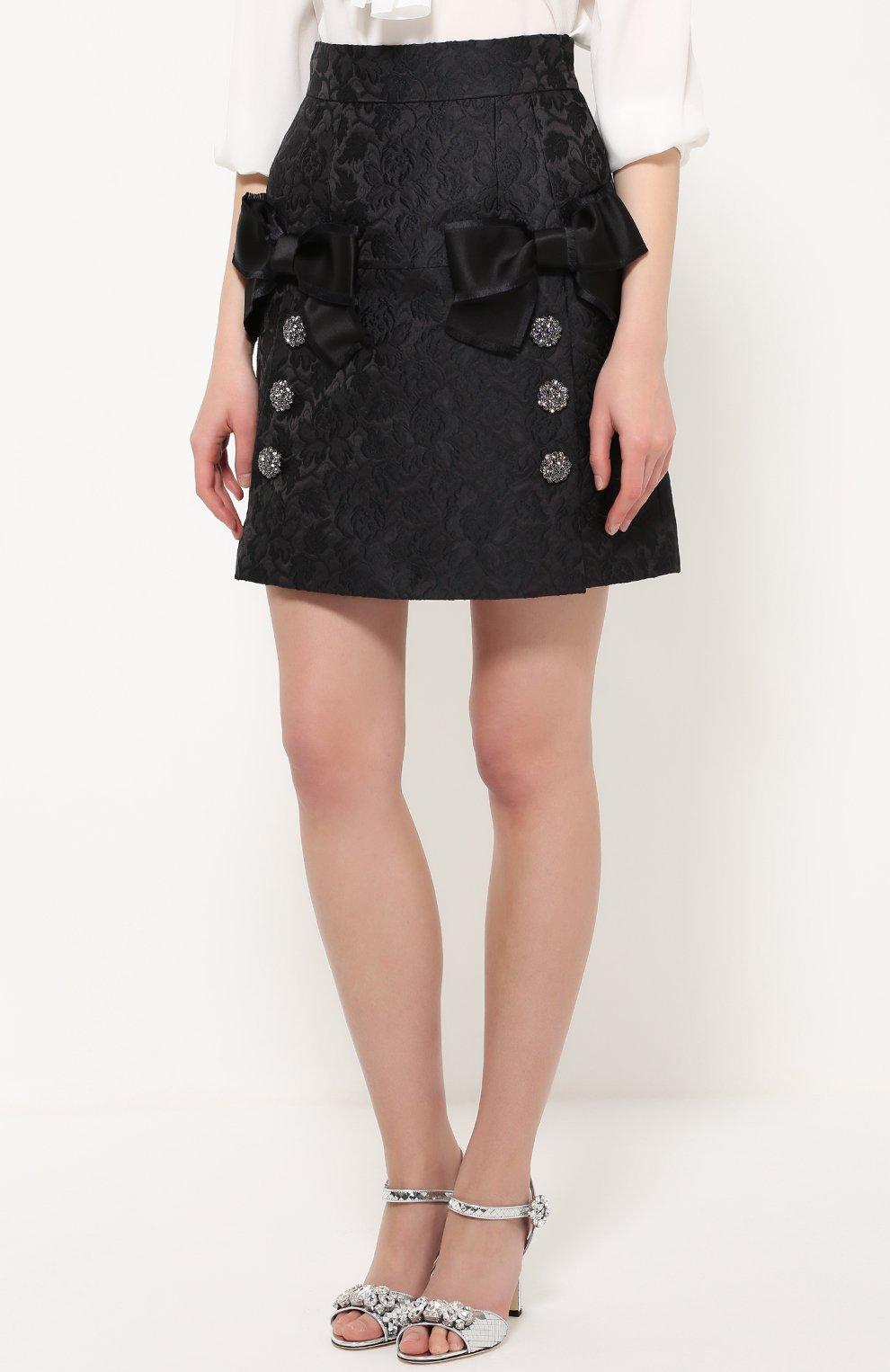 Мини-юбка с фактурной отделкой и бантами Dolce & Gabbana черная | Фото №3