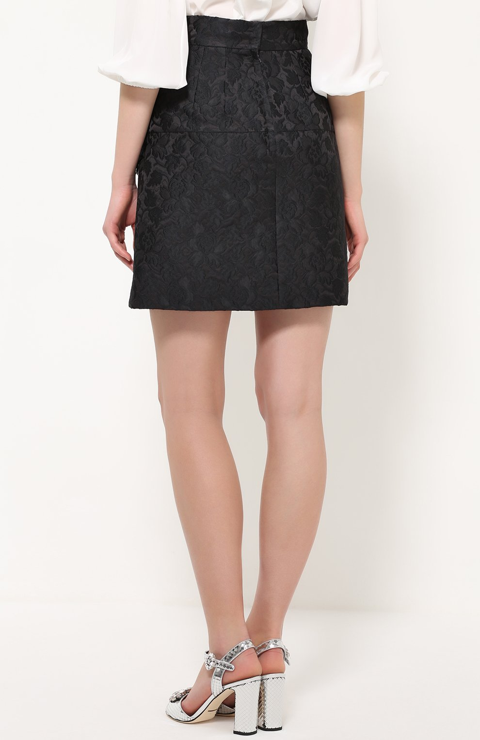 Мини-юбка с фактурной отделкой и бантами Dolce & Gabbana черная | Фото №4