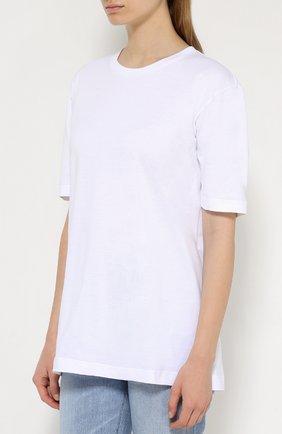 Хлопковая футболка прямого кроя Dolce & Gabbana белая | Фото №3