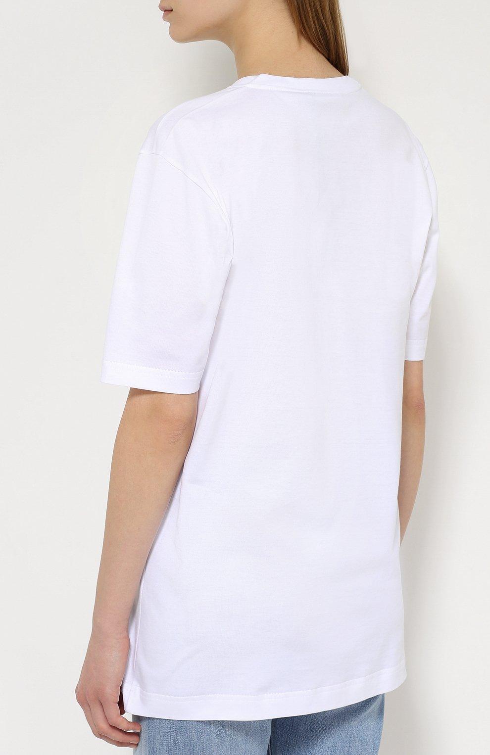 Хлопковая футболка прямого кроя Dolce & Gabbana белая | Фото №4