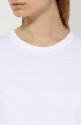 Хлопковая футболка прямого кроя Dolce & Gabbana белая | Фото №5