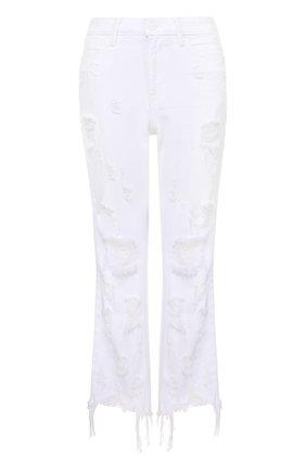 Укороченные расклешенные джинсы с потертостями и бахромой Denim X Alexander Wang белые | Фото №1