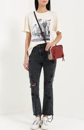 Укороченные расклешенные джинсы с потертостями и бахромой Denim X Alexander Wang серые | Фото №1