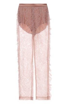 Полупрозрачные кружевные брюки прямого кроя | Фото №1