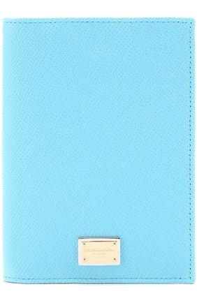 Кожаная обложка для документов Dolce & Gabbana голубого цвета | Фото №1