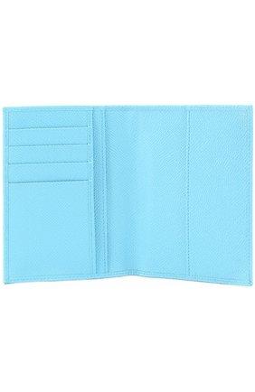 Кожаная обложка для документов Dolce & Gabbana голубого цвета | Фото №3