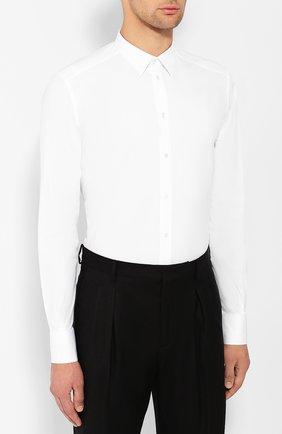 Хлопковая сорочка Dolce & Gabbana белая | Фото №3