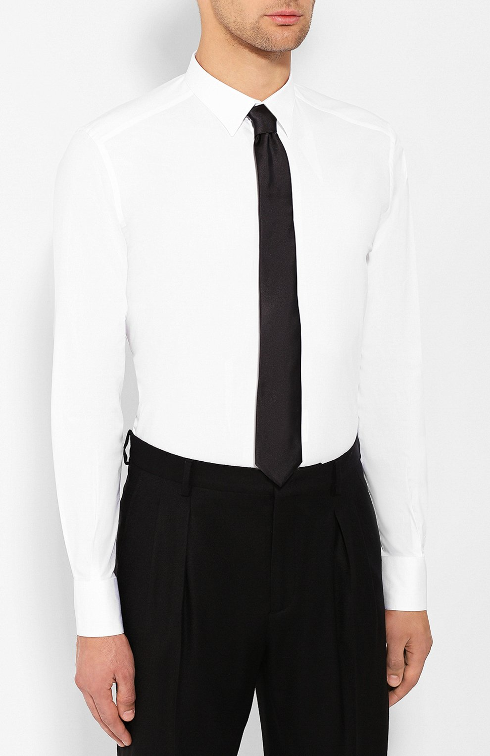 Хлопковая сорочка Dolce & Gabbana белая | Фото №4