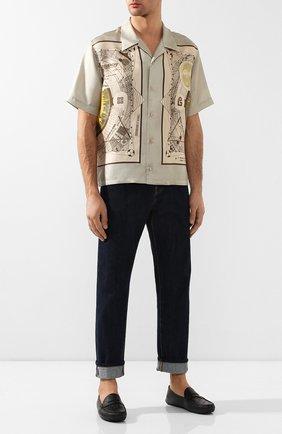 Мужские кожаные мокасины gucci signature GUCCI черного цвета, арт. 431063/CWD20 | Фото 2