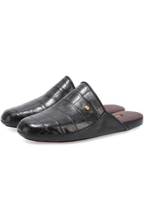 Мужского домашние туфли из кожи крокодила ZILLI черного цвета, арт. ZP366/0G7/ZD366 | Фото 1
