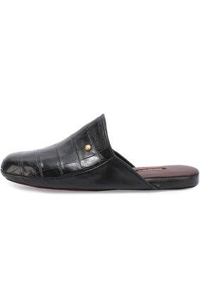 Мужского домашние туфли из кожи крокодила ZILLI черного цвета, арт. ZP366/0G7/ZD366 | Фото 2