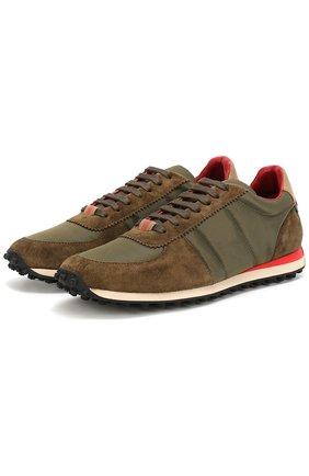 Замшевые кроссовки с текстильной отделкой | Фото №1