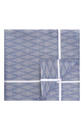 Мужской хлопковый платок с узором и контрастным кантом SIMONNOT-GODARD голубого цвета, арт. N0CTURNE | Фото 1
