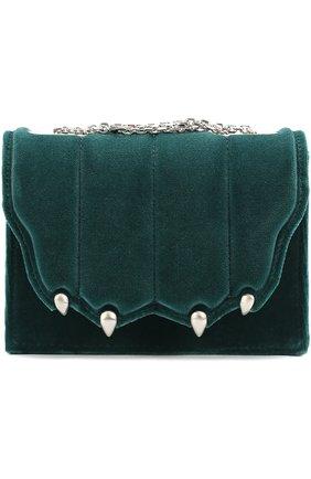 Бархатная сумка Paw на цепочке Marco de Vincenzo зеленого цвета | Фото №1