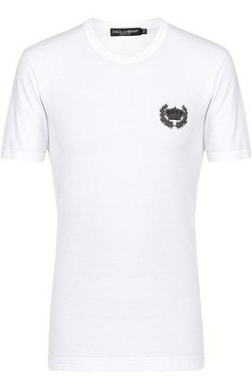 Хлопковая футболка с вышивкой Dolce & Gabbana белая | Фото №1