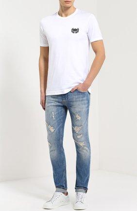Хлопковая футболка с вышивкой Dolce & Gabbana белая | Фото №2