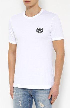 Хлопковая футболка с вышивкой Dolce & Gabbana белая | Фото №3