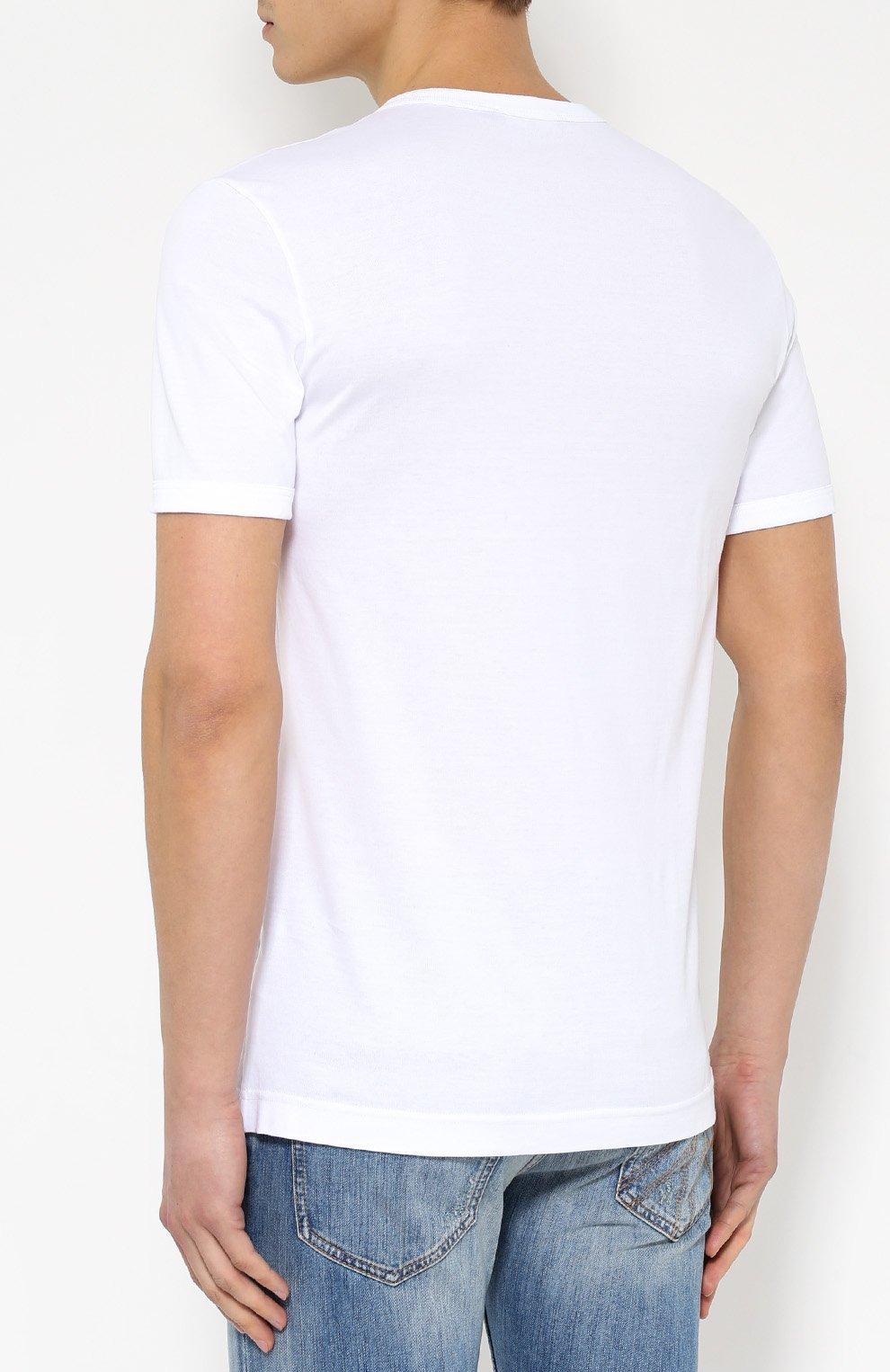 Хлопковая футболка с вышивкой Dolce & Gabbana белая | Фото №4