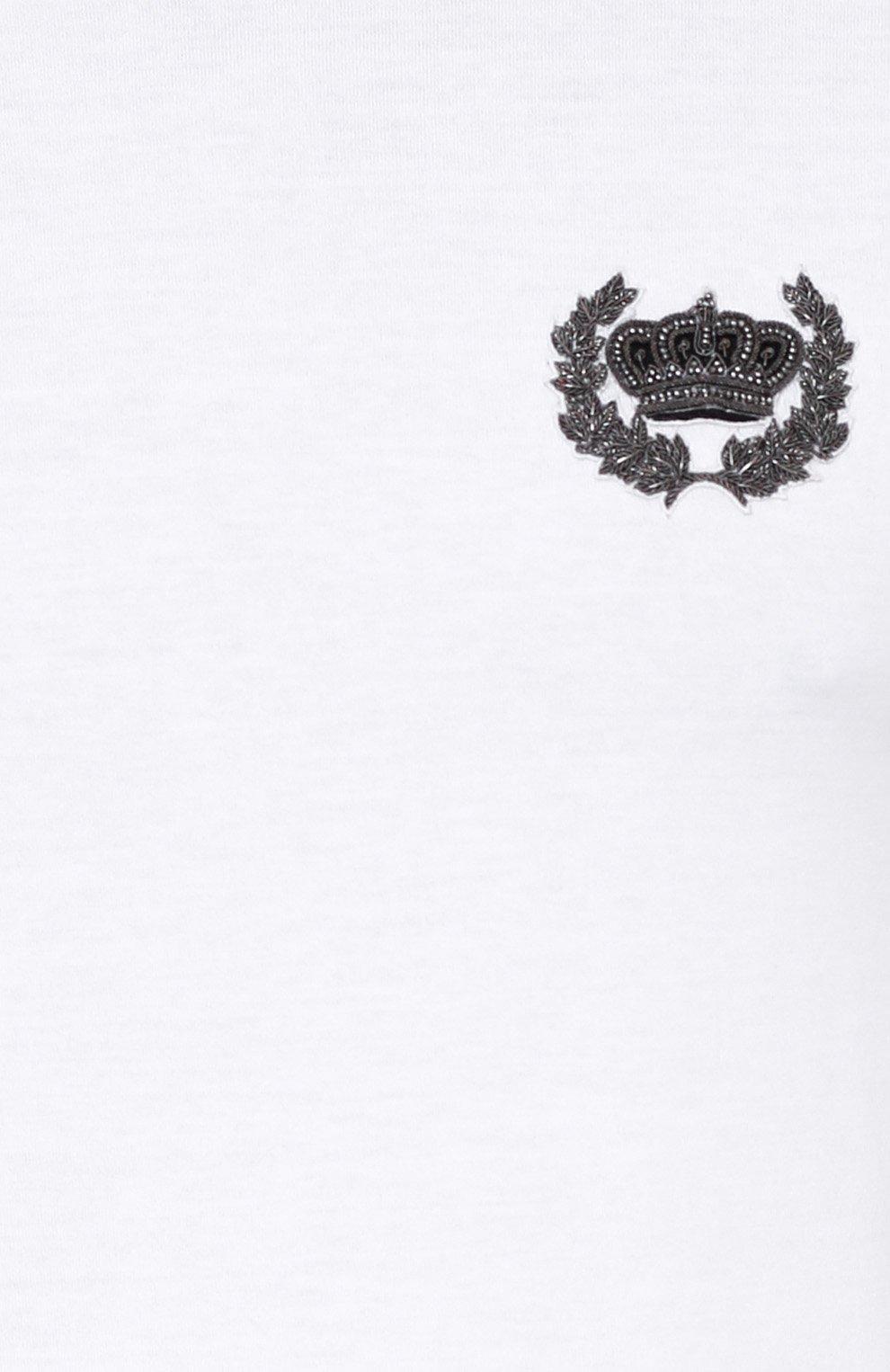 Хлопковая футболка с вышивкой Dolce & Gabbana белая | Фото №5