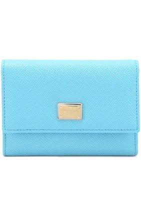 Кожаное портмоне Dolce & Gabbana голубого цвета | Фото №1