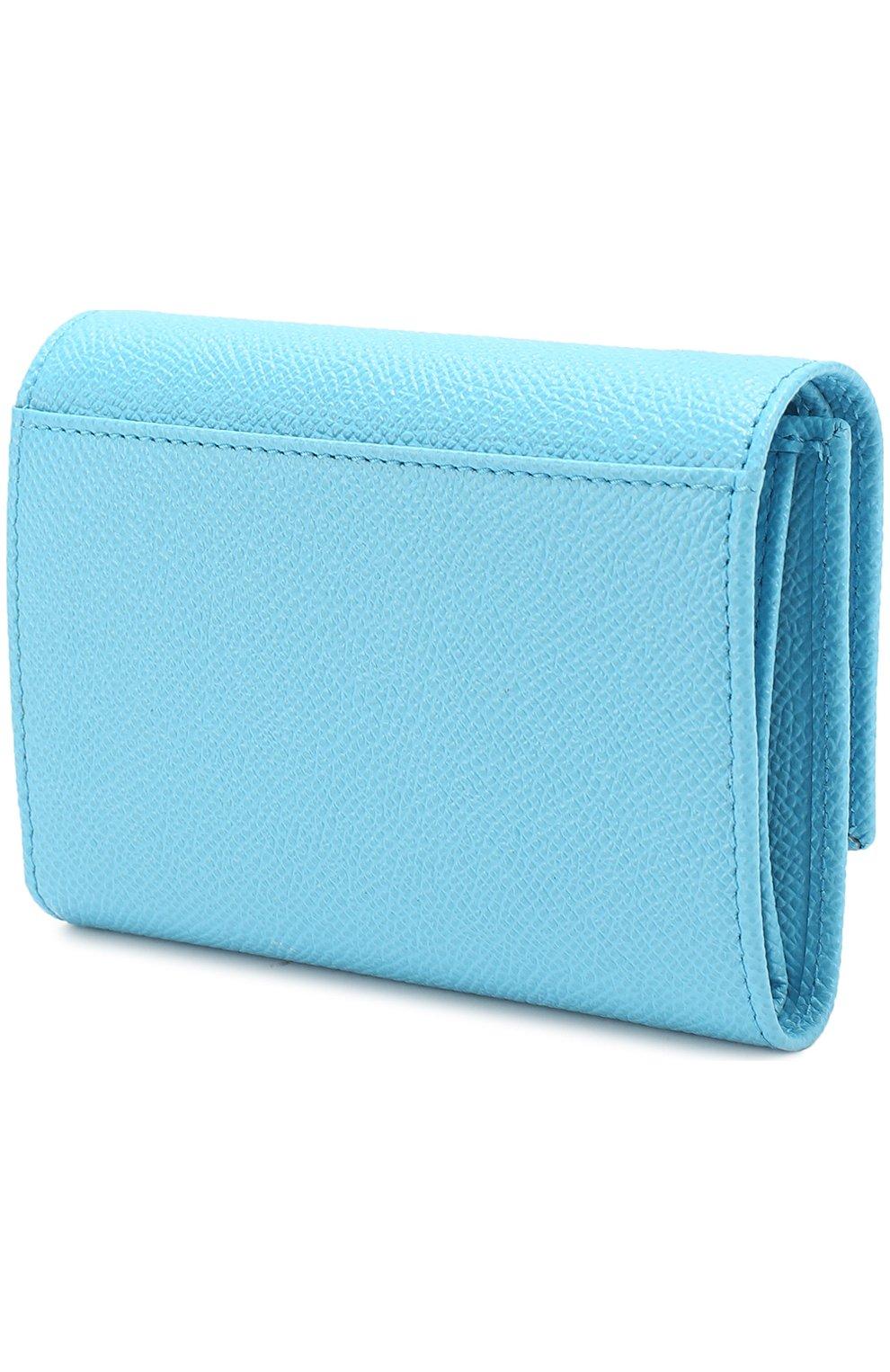 Кожаное портмоне Dolce & Gabbana голубого цвета | Фото №2