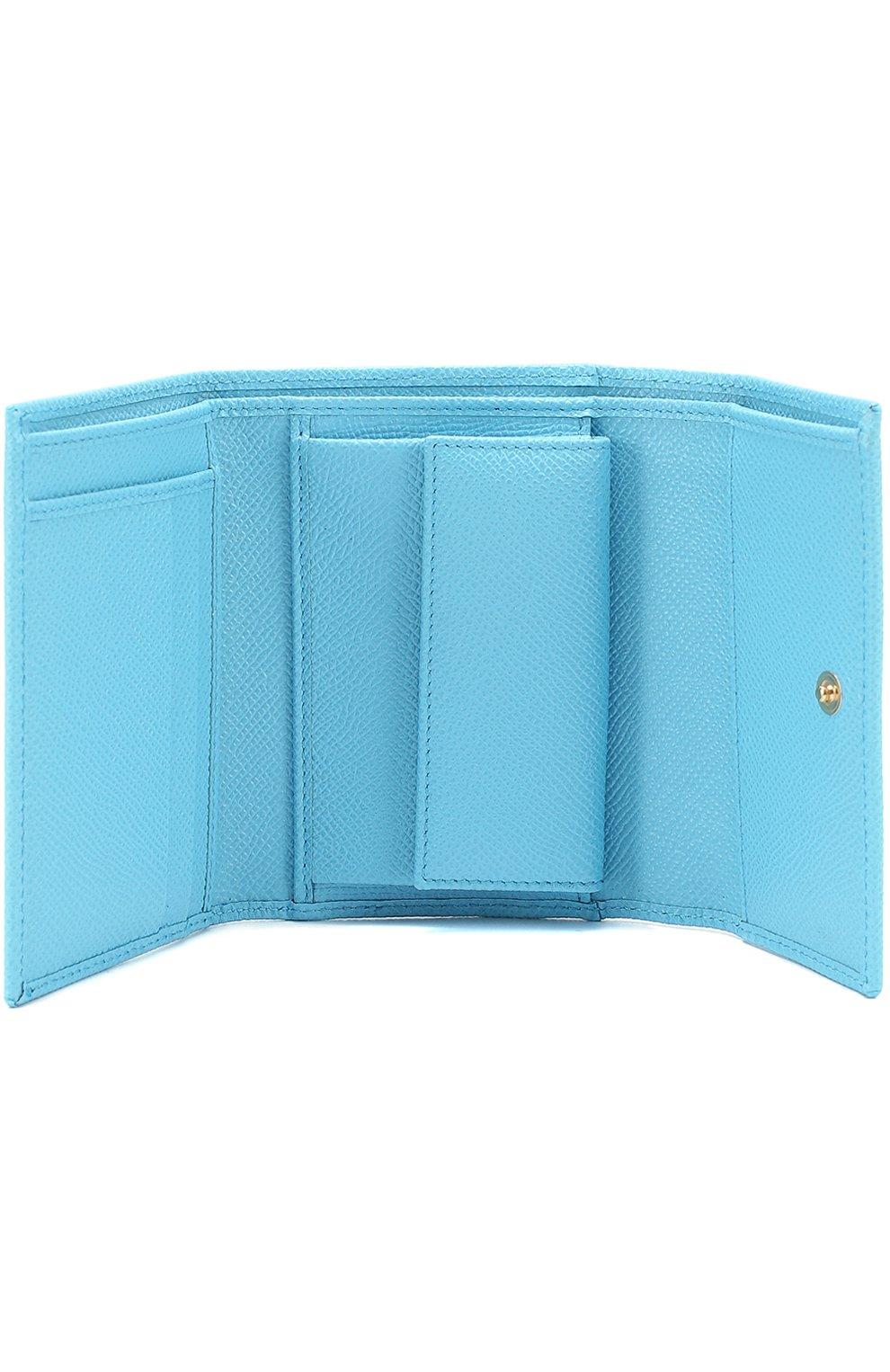 Кожаное портмоне Dolce & Gabbana голубого цвета | Фото №3