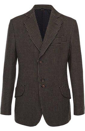 Шерстяной однобортный пиджак с узором | Фото №1
