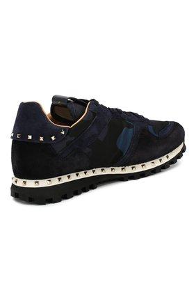 Мужские комбинированные кроссовки valentino garavani soul rockrunner VALENTINO темно-синего цвета, арт. MY2S0952/NYM   Фото 4