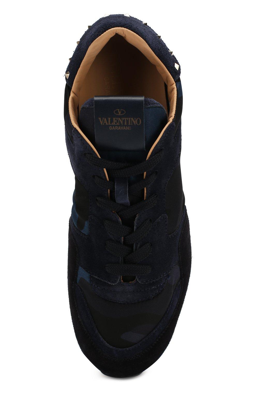 Мужские комбинированные кроссовки valentino garavani soul rockrunner VALENTINO темно-синего цвета, арт. MY2S0952/NYM   Фото 5
