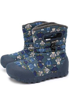 Детские резиновые сапоги с принтом Bogs синего цвета | Фото №1