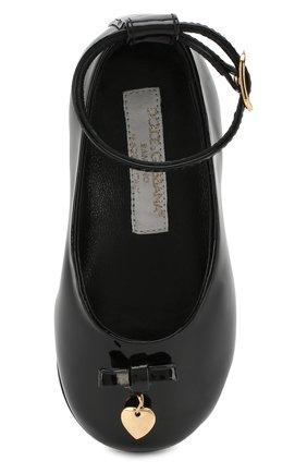 Детские лаковые туфли с бантом и подвеской Dolce & Gabbana черного цвета | Фото №4
