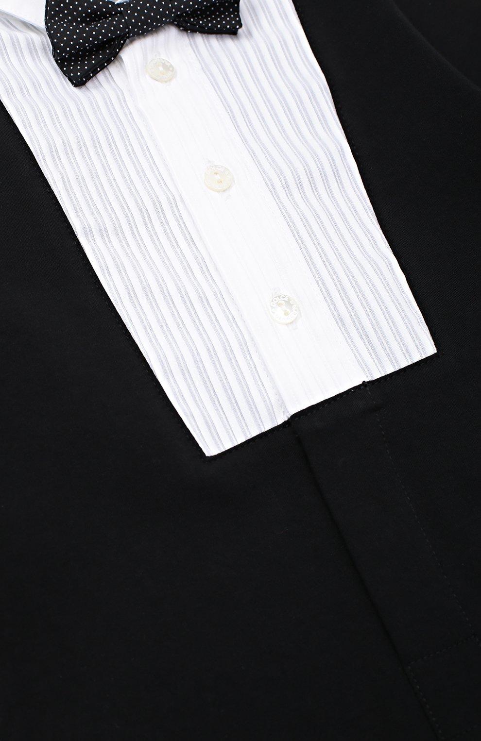 Комбинезон из хлопка с бабочкой Dolce & Gabbana черно-белого цвета | Фото №3