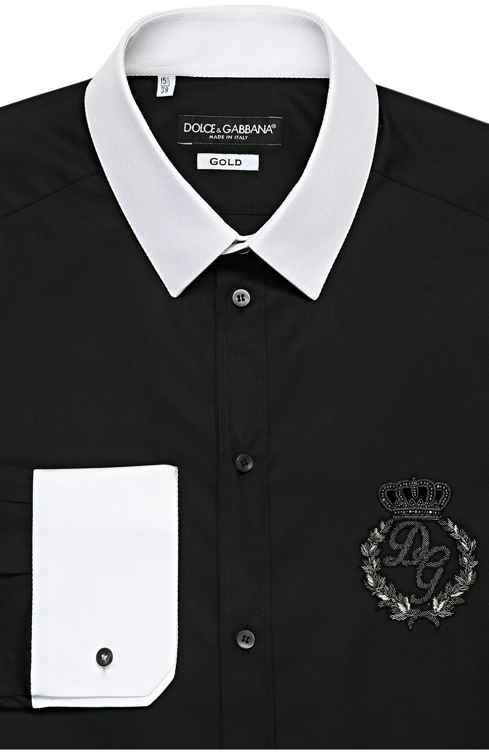 Хлопковая сорочка с вышивкой и контрастными манжетами | Фото №1