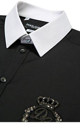 Хлопковая сорочка с вышивкой и контрастными манжетами | Фото №5