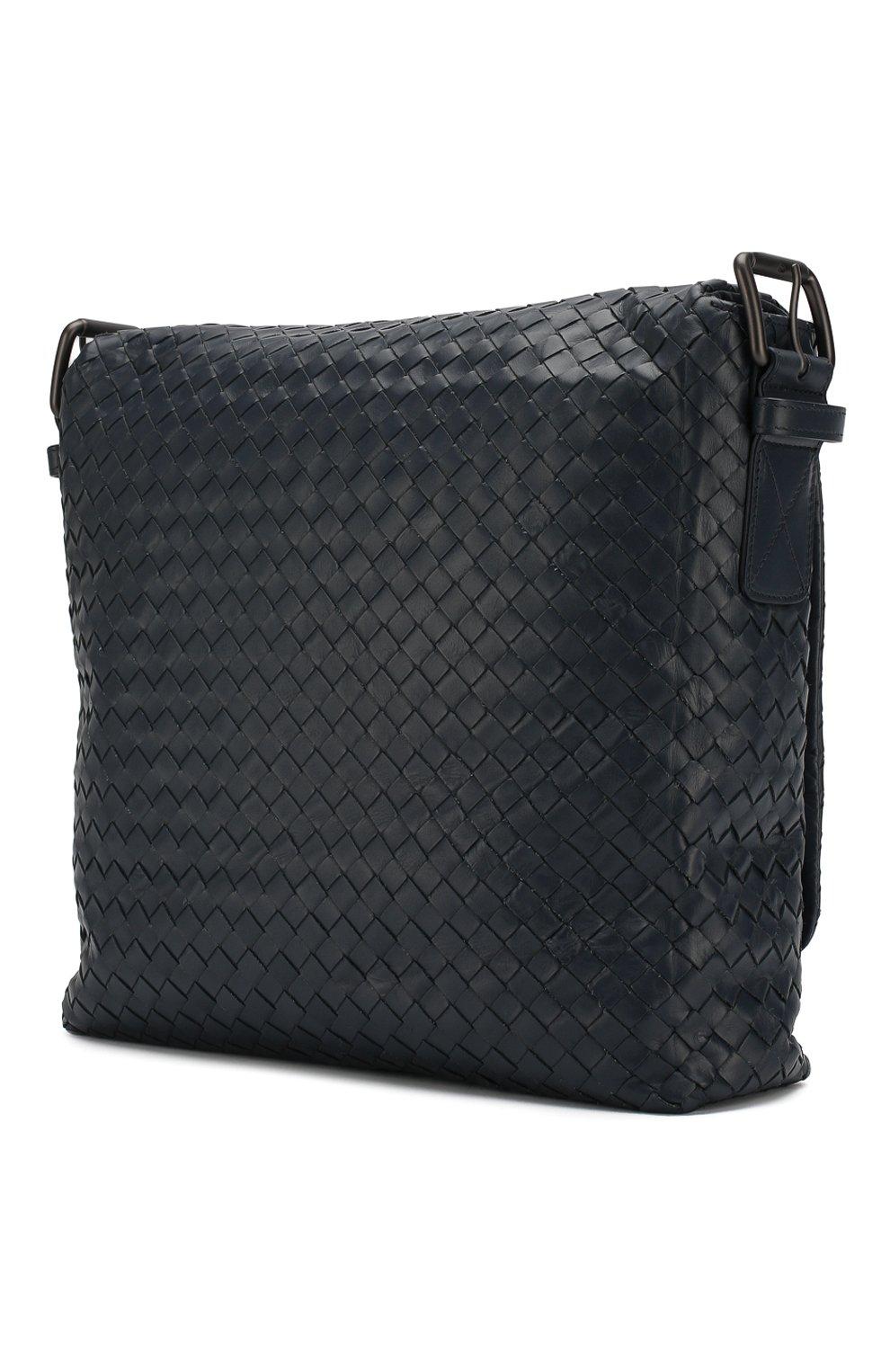 335184682c869 Кожаная сумка-планшет с плетением intrecciato Bottega Veneta темно-синяя