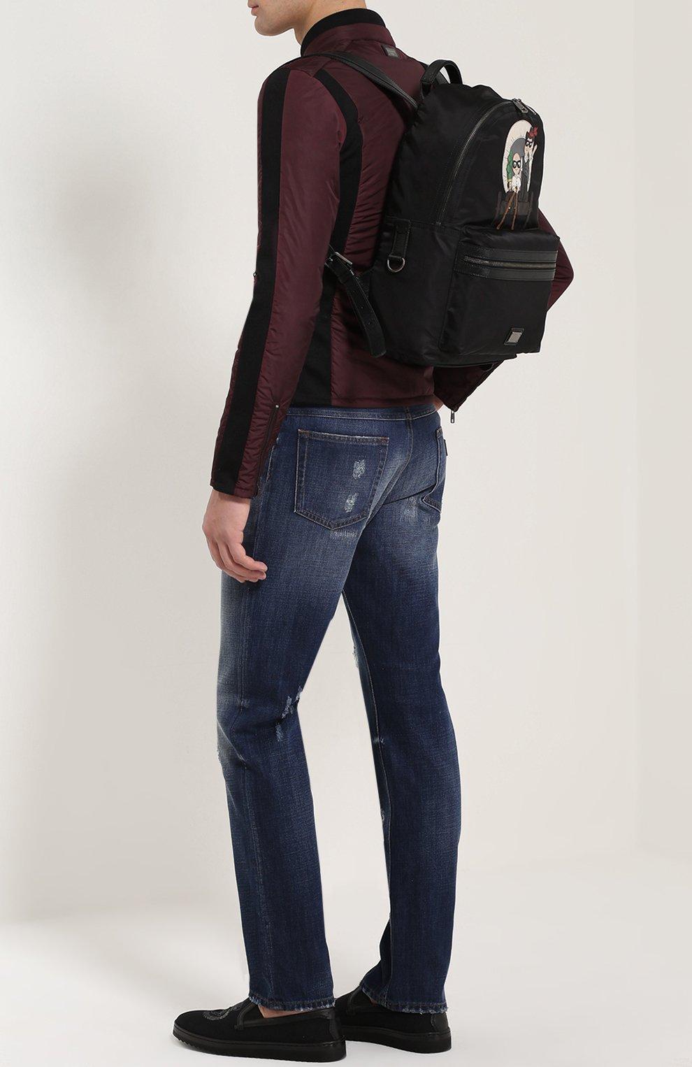 Рюкзак Vulcano с нашивками Dolce & Gabbana черный | Фото №2