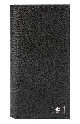 Кожаное портмоне с отделениями для кредитный карт Dolce & Gabbana черного цвета | Фото №1